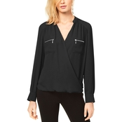 INC International Concepts Zipper Pocket Surplice Blouse