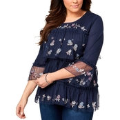 Style & Co. Plus Size Tiered Embroidered Mesh Top