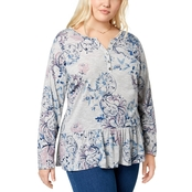 Style & Co. Plus Size Printed Ruffled Henley Top