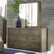 aspenhome Modern Loft Asymmetrical Dresser and Mirror