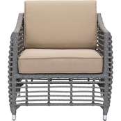 Zuo Modern Trek Beach Arm Chair Gray and Beige
