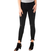 YMI Jeans Juniors Wannabettabutt 27 In. High-Low Skinny Jeans with Knee Destruction