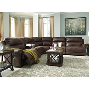 Ashley Luttrell 6 Pc. Sectional with 3 Recliners and Storage Console