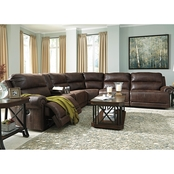 Ashley Luttrell 6 Pc. Sectional with 2 Power Recliners and Storage Console