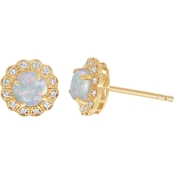 Gold Plated Sterling Silver Created Opal and Diamond Accents Earrings