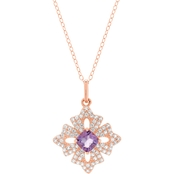 Rose Gold Plated Sterling Silver Amethyst and White Topaz Pendant 18 In.
