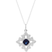Sterling Silver Created Sapphire and White Topaz Pendant 18 In.