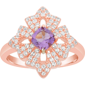 Rose Gold Plated Sterling Silver Amethyst and White Topaz Ring