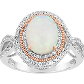 Two-Tone Silver Created Opal and White Topaz Ring