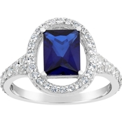 Sterling Silver Created Sapphire and White Topaz Ring