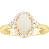 10K Gold Opal and 1/5 CTW Diamond Ring
