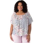 Status by Chenault Plus Size Peasant Blouse