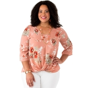 Status by Chenault Plus Size Twist Front Blouse