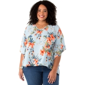 Status by Chenault Plus Size Space Floral Poncho