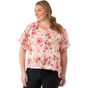 Status by Chenault Plus Size Woven Floral Asymmetrical Hem Poncho & Attached Tank