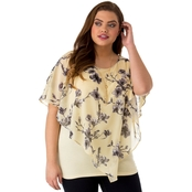 AGB Plus Size Printed Cold Shoulder Popover