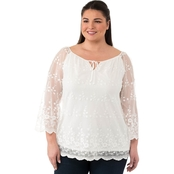 AGB Plus Size Lace Peasant Top