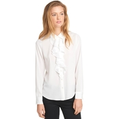 Karl Lagerfeld Paris Long Sleeve Button Front CDC Woven with Ruffle