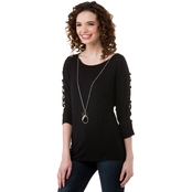 Heart Soul Juniors Lattice Sleeve Dolman Tunic with Necklace