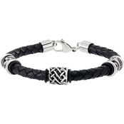 Focus For Men Stainless Steel Leather 3 Station Bracelet