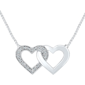Sterling Silver Diamond Accent Heart Pendant 18 In.
