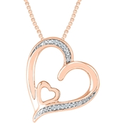 Sterling Silver and 10K Rose Gold Diamond Accent Heart Pendant 18 In.