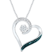 Sterling Silver Diamond Accent White and Blue Dia Heart Pendant 18 In.