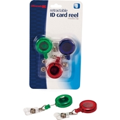 Officemate ID Card Reels with Clip, Assorted Transparent Colors
