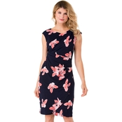 Connected Apparel Interlock Twist Yarn Floral Asymmetrical Neck Dress