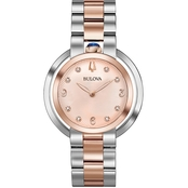 Bulova Women's Rubaiyat Diamond Accent Two-Tone Watch with Rose-Tone Dial 98P174