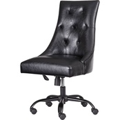 Ashley Black Button Back Swivel Office Chair