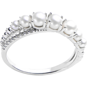 Imperial Sterling Silver Cultured Pearl & White Topaz Ring