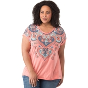 Cherokee Plus Size Raw Edge Tee