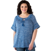 Cherokee Plus Size Peasant Top with Trim Detail
