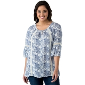 Cherokee Plus Size Peasant Top with Lace Trim