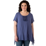 Cherokee Plus Size Gauze Peasant Top