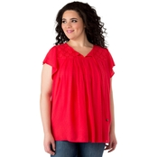 Cherokee Plus Size Peasant Top