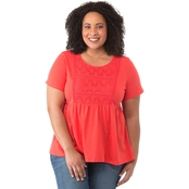 Cherokee Plus Size Knit Top With Lace Trim