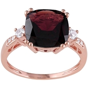 Sofia B. Cushion Cut Garnet Created White Sapphire and Diamond Accent Ring