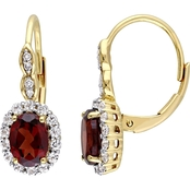 Sofia B. Oval Cut Garnet White Topaz and Diamond Accent Vintage Halo Earrings