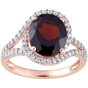Sofia B. Oval Cut Garnet and 1/2 CTW Diamond Twist Halo Ring in 14K Rose Gold