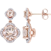 Sofia B. Morganite and 2/5 CTW Diamond Quatrefoil Halo Earrings in 14K Rose Gold
