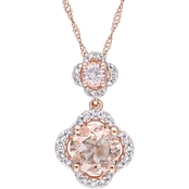 Sofia B. Morganite and 1/5 CTW Diamond Quatrefoil Halo Necklace in 14K Rose Gold