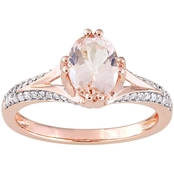 Sofia B. Oval Morganite and 1/5 CTW Diamond Estate Ring in 14K Rose Gold