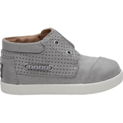 TOMS Boys Drizzle Grey Perforated Microfiber Bimini High Sneakers