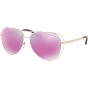 Michael Kors Metal Aviator Polycarbonate Standard Mirrored Sunglasses 0MK1024