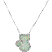 Rhodium Over Sterling Silver Lab Created Opal and White Sapphire Cat Necklace