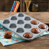 Pioneer Woman Timeless Floral 12 Cup Muffin Pan, Metal