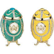 Design Toscano Russian Imperial Eagle Collection Romanov Style Enameled Egg Set