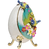 Design Toscano Springtime Collection Romanov Style Enameled Egg, Bluebirds